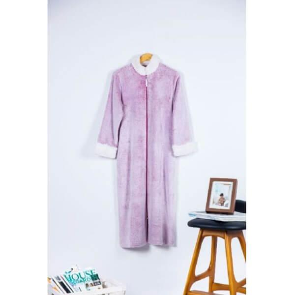 Backprint Velvet Plush Zip Front Robe with Sherpa Collar & Cuff