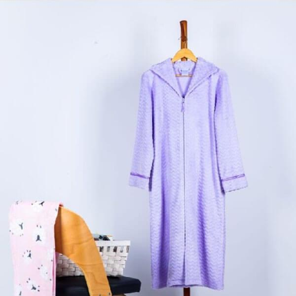 Sheared Velvet Plush Zip Front Robe