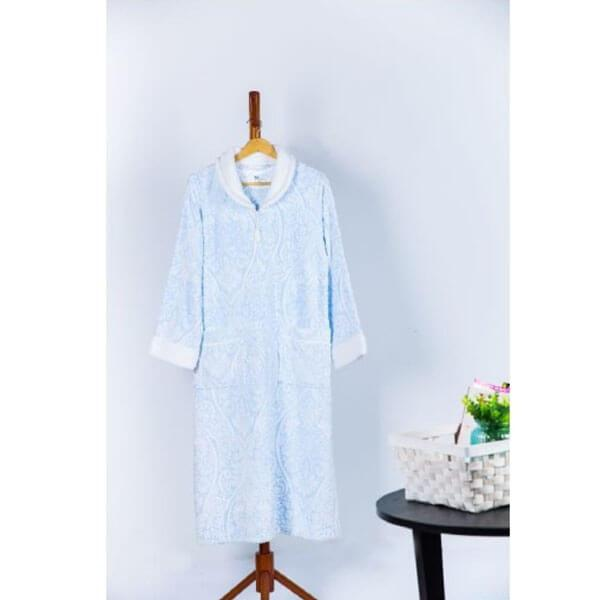 Printed Burnout Velvet Plush Zip Front Robe