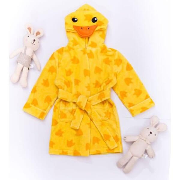 Printed Velvet Plush Kids Robe