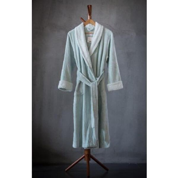 Solid Velvet Plush Robe Backprint Puff Velvet Plush Collar & Cuff