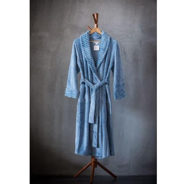 Solid Velvet Plush Robe with KS Stripe Velvet Plush Collar&Cuff
